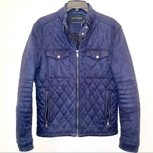 Zara navy faux suede quilted bomber jacket size M
